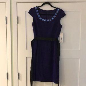 Badgley Mischka Royal Purple Cocktail Dress Sz 6